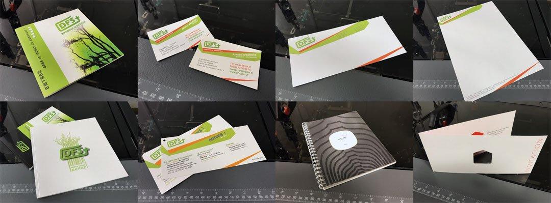 Les différents produits imprimés de l'imprimerie DFS+
