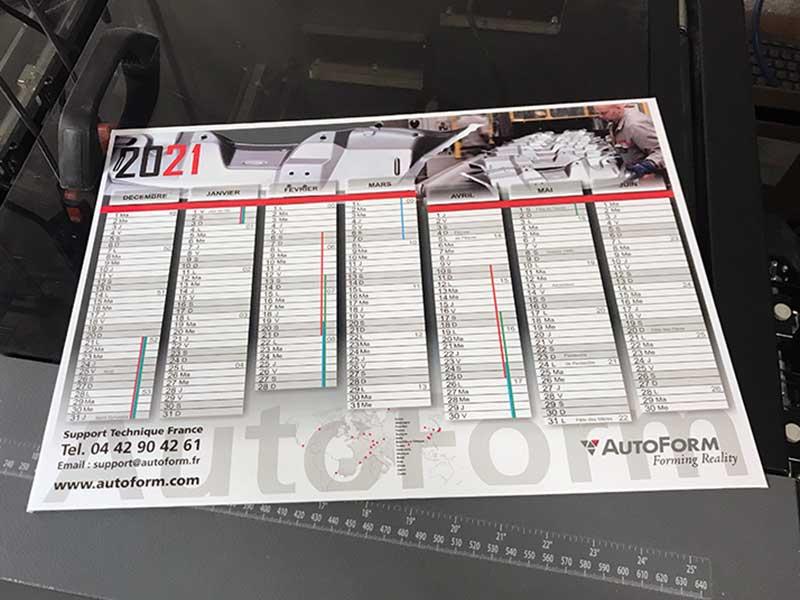 Impression d'un calendrier de banque à l'imprimerie DFS+ à Aix-en-Provence